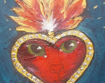 """sacred heart ghost kitty 6"""" x 6"""" acrylic and mixed media painting"""