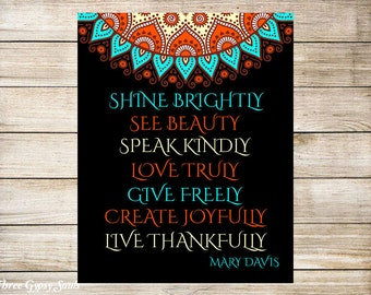 PRINTABLE ART Inspirational Quote Mary Davis  Shine Brightly