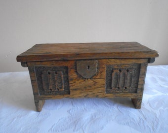 miniature oak coffer trinket box