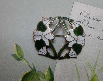 Vintage Art Nouveau Enamel Brooch w/ Floral Design    NEC4