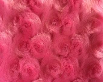 Shannon Fabrics. Hot Pink Rosebud Minky - BTY