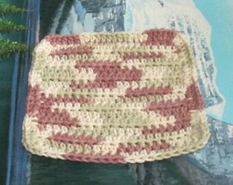 Hand crochet cotton dish cloth 6 by 6.5 cdc 119