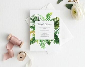 Printable Bridal Shower Invitation, Shower Invite, Bride-to-be Invitations, Tropical, Greenery, Destination, Wedding shower #R099