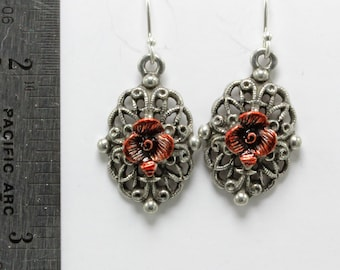 Handmade Earrings 1 Inch Long Silver Filigree Flower Charm, Lead Free Pewter, Drop, Old Silver Pewter, 24 x 15mm, B'sue by 1928 Hand Painted
