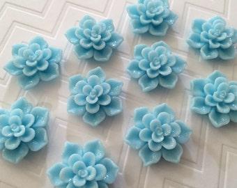 Flower Magnet Set of 10- Blue Flowers - stocking stuffer, dorm decor, hostess gift, weddings, bridal shower, baby shower, gift