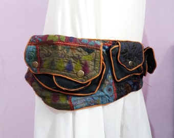 Black Belt, Multi pocket belt, Waist Bag, Fanny Pack, Festival Waist Belt, Utility Belt, Burning Man Belt, Hippie Belt, Hippie Festival Belt