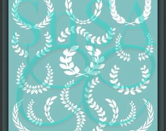 Laurel SVG Wreath Monogram Circle Letter Heart Love Arrow Wedding Wife Tribe Door Mailbox Frame Cup Mug Sign 2 Hello Decal Cup Flower 2018.
