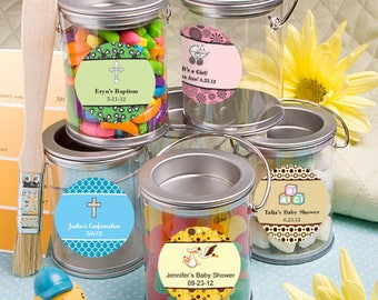 50 Personalized Baby Shower Silver Mini Paint Can Mint Tin - Set of 50