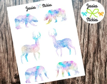 Watercolor Geometric Animal Stickers Watercolor Aztec Animal Stickers