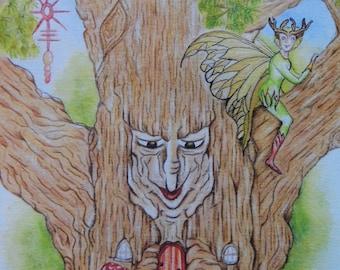 Fairies PRINT, Tree Spirit, Sprite, Folklore, Nymphs, Mythical Creatures, Magical Garden, Tree Fairy, Fantasy Art, Original Art,