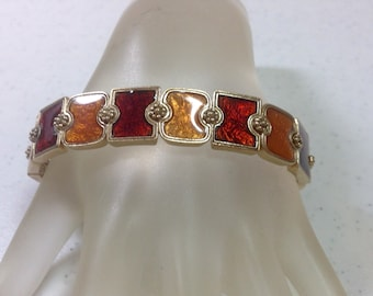 """Ruby Red and Shades of Yellow Links Antique Gold Metal Stretch Bracelet, 5/8"""" Wide, Fits Wrist of 8"""" or Less Previously 20 Dollars ON SALE"""