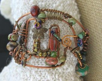 Asymmetrical Free Form Wire Wrapped Copper, Brass, Niobium, Stone Cuff Bracelet, Asymmetrical Wired Copper Beaded Jewelry