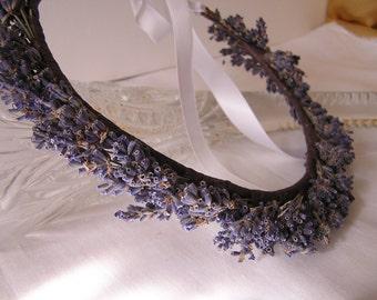 Dried Lavender Hair Crown, Bridal Lavender Hair Halo, Wedding Crown, Lavender Hair Wreath, Lavender Wedding, Dried Lavender Hair Circle