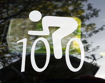 "Cycling decal - male ""century"" 100 miles - car windows, laptop"