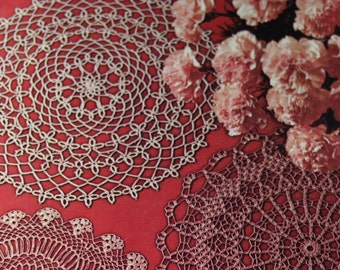 Doilies Patterns Crochet Knit Hairpin Lace Tatted Coats and Clark's 197 Square Pansy Rose Vintage Paper Original NOT a PDF