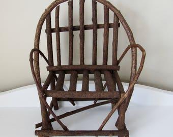 vintage miniature bent twig chair/Adirondack style bent wood rustic chair