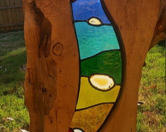 Stained glass and wood art