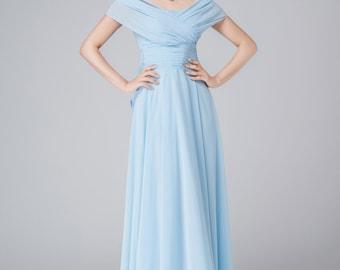 infinity dress, wedding dress, blue chiffon dress, summer dress, maxi dress, elegant dress, high waisted dress, womens dresses 1542
