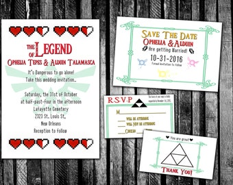 Zelda invitation etsy legend of zelda inspired wedding invitation save the date rsvp and thank you stopboris Choice Image