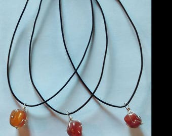 leather natural carnelian Sterling Silver Clasp necklace