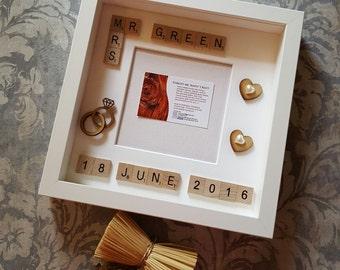 Scrabble Wedding Gift Photo Frame, Wedding Gift Photo Frame, Scrabble Word Art Wedding Gift Photo Frame