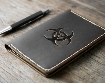 BioHazard Leather Journal Notebook Personalized Leather Journal Leather Notebook #072