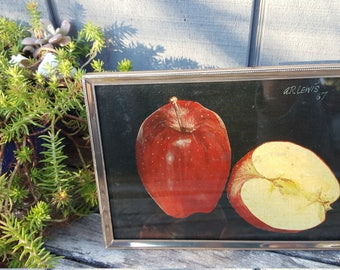 apples still life oil painting // cottage cabin rustic decor // signed A.R. Lewis 1967