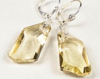 Crystal Bridal Earrings, Champagne Swarovski Crystal Wedding Earrings, Bridal Jewelry, Wedding Jewelry, Crystal Drop Earrings  Chloe WE0202