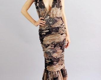 Women's Emily Rosette Shoulder Ruffle Mermaid Gown-Size S/M