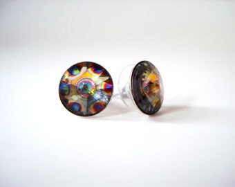 CHIPPED - SALE - Colorful Peacock Stud Earrings - rainbow peacock eye Swarovski crystal round rivoli rhinestone studs large post earrings