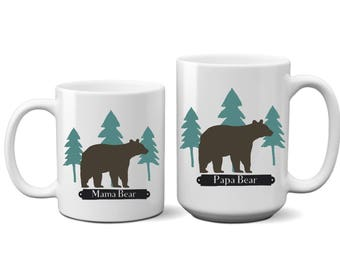Set of 2 Rustic Mama Bear Papa Bear Coffee Mug Couple Gift Wedding Day Anniversary Bridal Shower His and Hers Husband Wife Mug Tea Cup