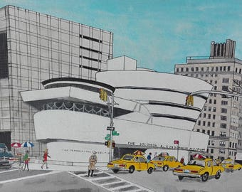Solomon R. Guggenheim Museum, New York City, 5th Avenue, Frank Lloyd Wright, Yellow Taxi