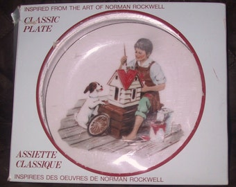 "Vintage 1986 Norman Rockwell Plate/ "" A Dollhouse for Sis"""