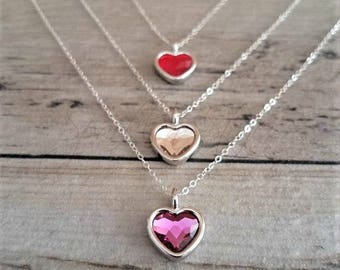 Crystal Heart Necklace, Swarovski Crystal Heart Necklace, Choose Your Heart Pendant, Heart Necklace, Swarovski Crystal Jewelry