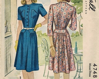 1940s McCall 4748 Vintage Sewing Pattern Misses Dress Size 14 Bust 32