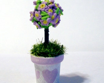 Miniature Topiary, Lavender Flower Tree, Artisan Sculpted, Cottage Chic, Dollhouse Decor, Mini Garden, Hand Painted, Wooden Pot