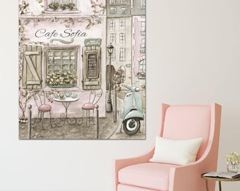 Personalized Canvas Art For Girl, Paris Nursery, Blush Pink, Vintage Shabby Chic, 5 Sizes, Museum Wrapped Canvas, Personalized Baby gift