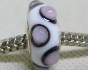 Handmade Lampwork Bead White with Black and Pink Dots