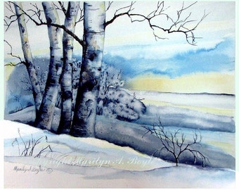 ORIGINAL WATERCOLOR LANDSCAPE; Winter scene, hoarfrost, birches, sunrise, Canadian art, 11 x 14 inches