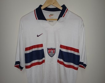 Vintage NIKE USA Soccer Shirt Home Lalas Jones 1995