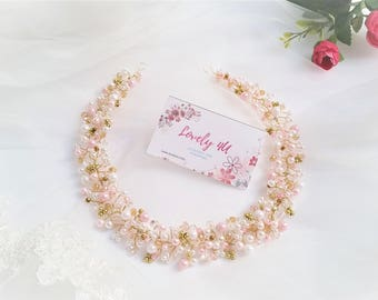 Bridal Tiara, Wedding Headpiece, Bridal Crystal Crown, Rhinestone Tiara, White And Ivory Pearls, Pink Accessory, Pearl Tiara