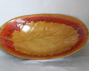 Mid Century 1960's Made in California Bright Orange Gold Large Bowl R-133X
