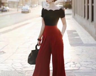 Rockabilly Scalloped white top, black , red of the shoulder top