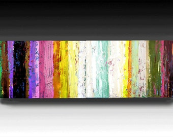 Abstract Painting, 64'' Original Contemporary Palette KnifePainting Textured painting Ready to Hang 64''X20''