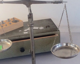 Vintage Scale Balance Scale Wood Box Metal Weights West Germany Apothecary Portable Jewelers