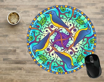 Mandala Mouse Pad, Bird Mandala Mouse Pad, Birds Mouse Pad, Computer Mouse Pads,  Mouse pad, Cute Mouse Pads, Mouse Pad