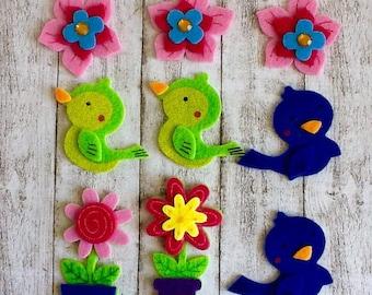 Felt Embellishments, Assorted Embellishments, Premade Felties, Scrapbook and Card making Supplies, Floral Felties, Bird Felties, Colorful