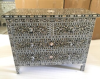floral design mother of pearl inlay four drawer chest ,# decorative dresser # chest of drawer