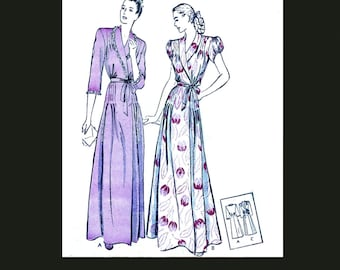 1940s 40s Reproduction E Pattern Vintage Sewing Pattern Elegant House Coat Night Dress Nightwear Bust 32 PDF INSTANT DOWNLOAD