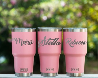 Personalized Yeti Tumbler 20 oz Yeti Insulated Cup Etched Yeti Cup Monogrammed Yeti Cup Pink Yeti Cup Engraved Yeti Tumbler Custom Yeti Cup